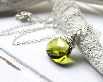 Olive Green Necklace, Olivine Swarovski Crystal Sterling Silver Wire Wrapped Flat Pear Pendant, Sterling Silver Cable Chain, Mossy, Forest