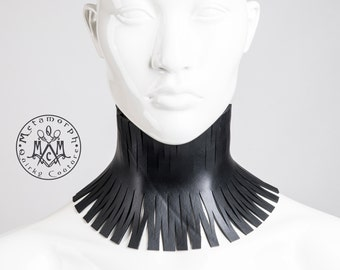 Rubber neck corset Recycled rubber high collar Cut out neck piece Rubber posture collar Edgy fashion Rivethead Fetish neck corset