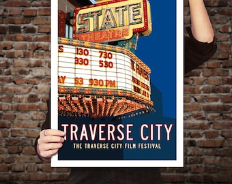 TRAVERSE CITY State Theatre, Michigan Travel Poster. Michigan Art, Movie Marquee, Theatre Decor, Movie Theater Decor, Retro Art Print.