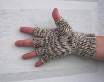 Hand Knit WOOL Half Finger GLOVES Unisex in Birch Tweed