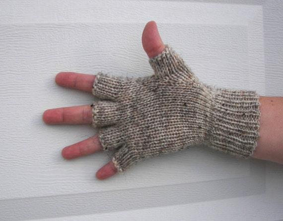 Hand Knit 100% WOOL Half Finger GLOVES in Brown Gray White