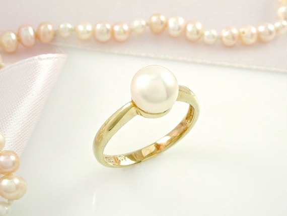 Pearl Ring Pearl Engagement Ring Pearl Solitaire Pearl