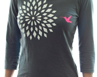 SALE - Hummingbird Flower on Gray Shirt