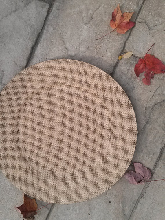 Set of 2 BURLAP CHARGER Plates Chargers Tableware Plate Bride Groom ...