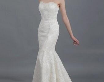 Lace wedding dress, wedding dress, bridal gown, strapless alencon lace