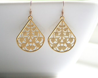Gold filigree, teardrop, dangle, earrings - TEARDROP