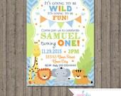 Jungle Animals First Birthday Invitation, Safari Birthday Invitation, Blue and Green Birthday, Jungle Animals, 1st Birthday Invitation, Boy