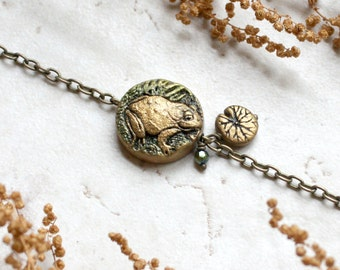 Frog Bracelet, Toad Jewelry, Lily Pad Charm Bracelet, Frog Jewellery, Frog art, Frog Lover, Pond Art, Hand Carved and Painted, unique gift