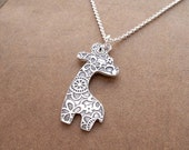 Large Giraffe Necklace, Fine Silver Flowered Giraffe, Sterling Silver Chain, Made To Order