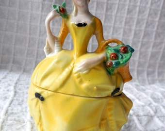 Antique German Porcelain Lady in Yellow Dress Powder Jar Vanity Box 1/2 Doll