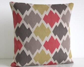 Ikat Pillow Cover, Accent Pillow Cover, Ikat Pillow, Ikat Cushion, 18x18 Cushion Cover, 18 Inch Ikat Pillow Sham - Ikat Trellis Spice