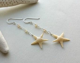 SALE Starfish Dangle Earrings, Real Starfish Earrings, Ethiopian Opal Earrings, Sea Star Jewelry, Beach Dangle:  35% Off