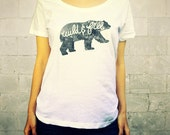 Wild and Free (Bear in Grey) // Ladies Womens Shirt, scoop neck, T-shirt, Illustration, Forest Animal, Polar Bear, Black Bear, Lisa Barbero