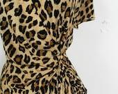 Wrap dress/ Vintage Wrap style Leopard Print Dress