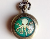 Green Octopus Pocket Watch Necklace -Under The Sea Art