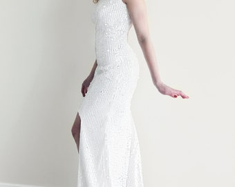Sequin Wedding Dress, White Sequin Dress, High-Low Hem Wedding Dress, Backless Wedding Dress