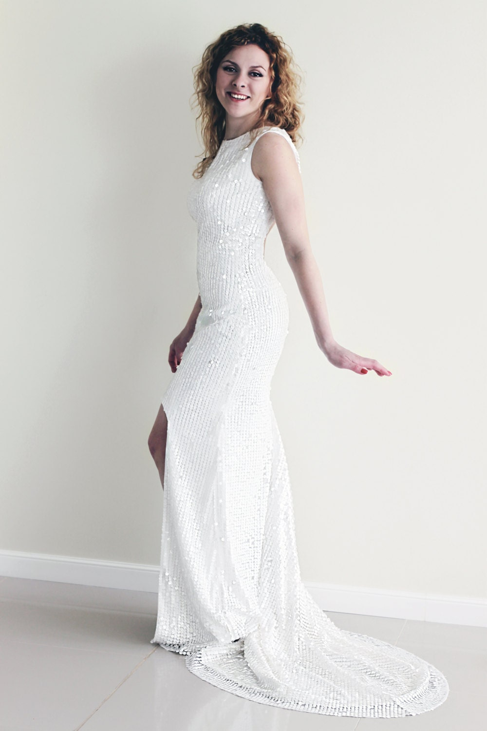 Sequin wedding dress white sequin dress high low hem wedding for White sparkly wedding dress