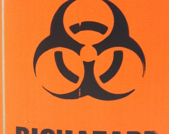 Orange Biohazard Stickers - 5 Pieces