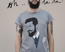 Made to order customizable tee, handmade tailoring handpainted tee shirt for men, hipster and beard style illustrated tee