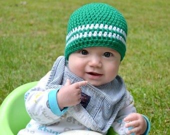 Crochet Baby Boy Beanie - Newborn to Adult - Kelly Green and White - MADE TO ORDER