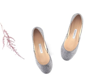 Black and White Leather Ballet Flats | Elegant Footwear | Evening Shoes | Valentine's Day Gift | Jazz...Made to order