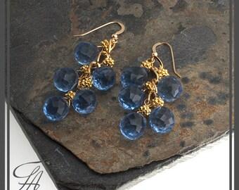 Blue Earrings, Sky Blue Earrings, Blue Quartz Earrings, Dangle Earrings, Gold Earrings, Cascade Earrings, Handmade Earrings