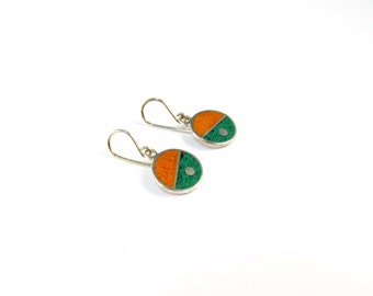 Sterling Silver Earrings, Divided Circles, Green and Orange, Dangle, Modern, Contemporary