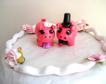 Pig Wedding Cake Topper Bride and Groom Pig Cake Topper Keepsake