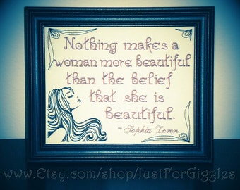 """Confidence saying Sophia Loren quote """" Beauty """"  framed embroidery 8x10 inch- adjustable in color Girlfriend sign Best Friend gift"""