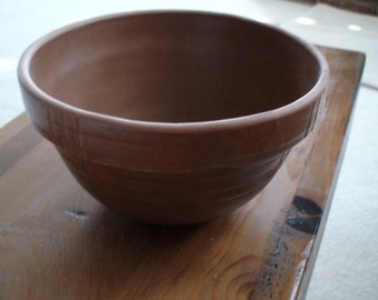 Primitive Stoneware Redware Pottery Bowl, Collectible Red Clay