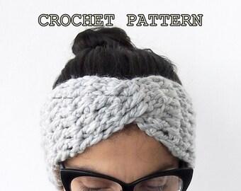 Crochet Pattern  turban headband chunky hat  twist headwrap women earwarmer, DIY photo tutorial Instant download