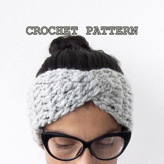 Free Knitting Pattern Twisted Headband : Crochet Pattern turban headband chunky hat twist headwrap