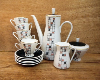 Modernist Coffee Set Freiberg Porcelain, Germany c.1950s