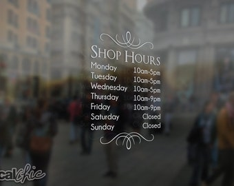 Custom Business Hours Decal Window Signage Inside Glass - Window decals for business hours