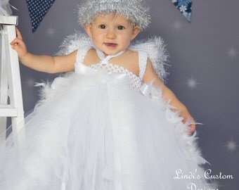 Angel Costume White Tulle Tutu Dress with Hand Crochet Silver Fringe Halo and Matching Hand Crochet Angel Wings, Christmas, Plays, Recital