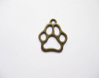 BULK - 50 Paw Charms in Bronze Tone - C2026