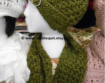 INSTANT DOWNLOAD  Rhinestone Buckle SET Beanie and Scarf  -  Crochet Pattern