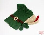 DIGITAL PATTERN:Boy Crochet Outfit,Baby Robin Hood Costume PATTERN,Baby Boy Clothes Crochet Pattern,Baby Boy Costume,Crochet Baby Costume