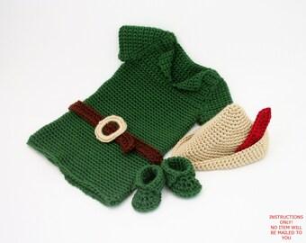 PDF DIGITAL PATTERN:Boy Crochet Outfit,Baby Robin Hood Costume Pattern,Baby Boy Clothes Crochet Pattern,Boy Costume,Crochet Baby Costume