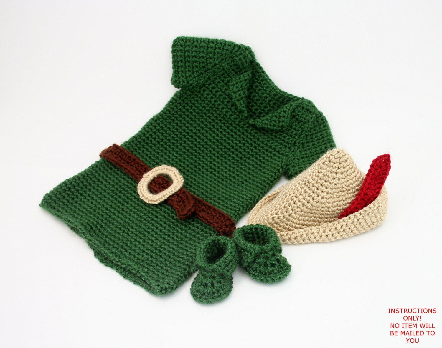 Free Crochet Patterns For Baby Animal Outfits : PDF DIGITAL PATTERN:Boy Crochet OutfitBaby Robin Hood Costume