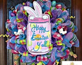 Whimsical Happy Easter Yall Bunny Wreath
