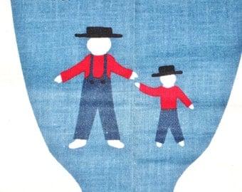 "Vintage Joan Kessler Concord Fabrics Cut and Sew Cotton Craft Panel Joseph and His Son 18"" 9"" Soft Cloth Stuffed Dolls, Prim Amish Man Boy"