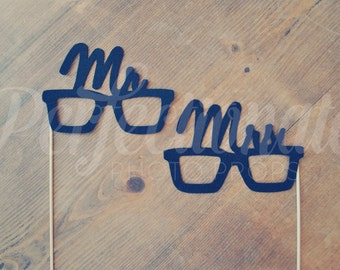 Felt Mr and Mrs Glasses Photo Prop Retro Glasses Prop | Newlywed Photo Prop Glasses