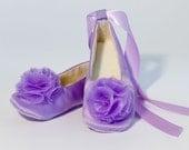 Lilac Satin Flower Girl Shoe - Toddler, Baby Ballet Slipper, Toddler Shoe - 23 color NB to Y1 Satin Ballet Slipper - Baby Souls Baby Shoes