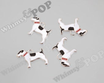 CLEARANCE SALE Black and White Enamel Terrier Dog Pendant Charm, Dog Charm, Terrier Charm, 18mm x 29mm (R7-144)