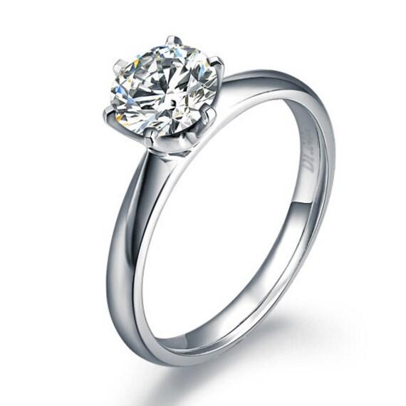 Tiffany Diamond Engagement Ring 14k White Gold Or By Ldiamonds