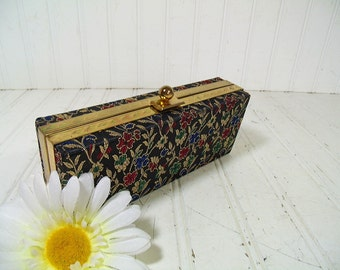 Retro Brocade Hinged Evening Bag Clutch - Vintage Black Floral Fabric & Gold Thread Jewelry Case - Metal Ball Snap Box with Original Mirror