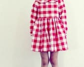 Girls Dress Red Gingham Dress Peter Pan Collar Full Twirl Skirt Red and White Cotton Dress Long Sleeve Dress Autumn Dress Handmade Clothing