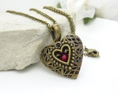 Dark red heart locket, vintage style antique bronze crystal locket