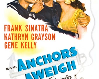 "Anchors Aweigh - Gene Kelly - Frank Sinatra - Home Theater Media Room Decor - 13""x19"" or 24""x36"" - Movie Musical Poster Print - Movie Poster"